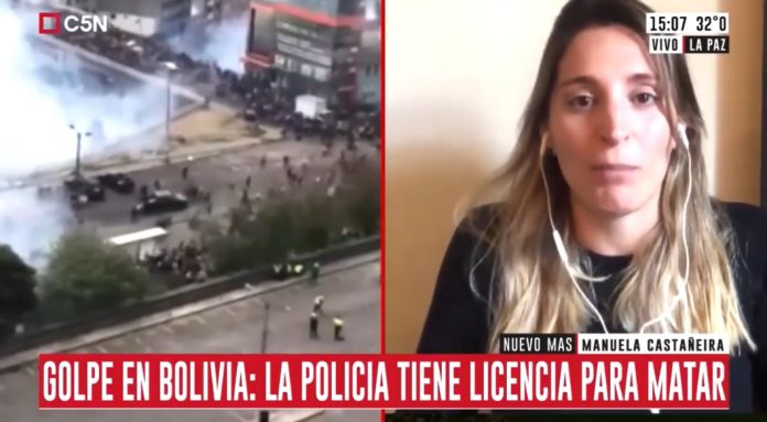 Manuela Castañeira en Bolivia contra el golpe de estado