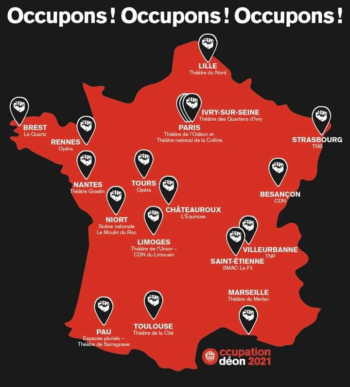 Mapa de las ocupaciones de teatros